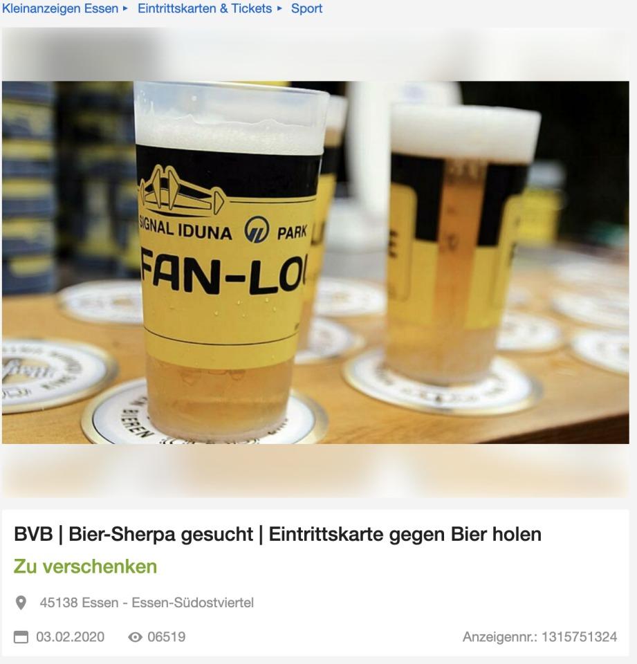 Bierholer gesucht. Dortmund Fans suchen Bierlieferanten